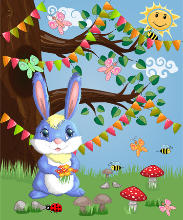 Blue bunny with a bouquet on a forest glade. Spring, love, postcard Illustration