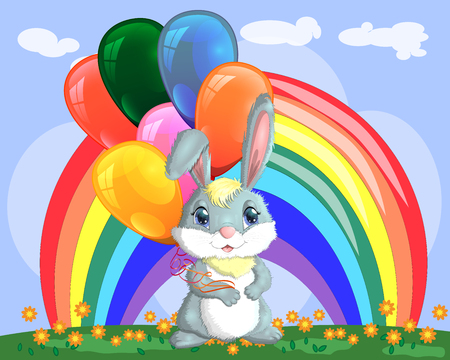 Cute cartoon bunny with an armful of balls on a glade near the rainbow. Spring, love, postcard Illustration