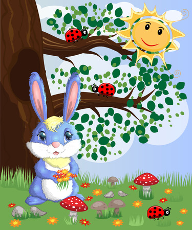 Blue bunny with a bouquet on a forest glade. Spring, love, postcard 向量圖像
