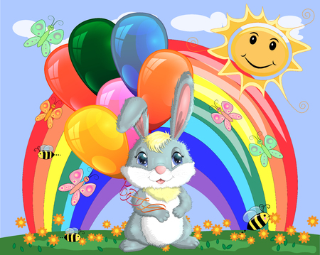 Cute cartoon bunny with an armful of balls on a glade near the rainbow. Spring, love, postcard