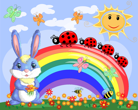 Bunny with a bouquet in a meadow near the rainbow. Spring, love, postcard Illustration