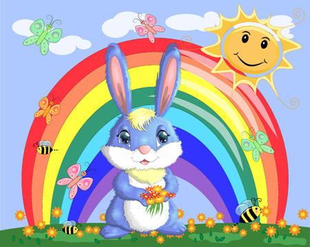 Bunny with a bouquet in a meadow near the rainbow. Spring, love, postcard