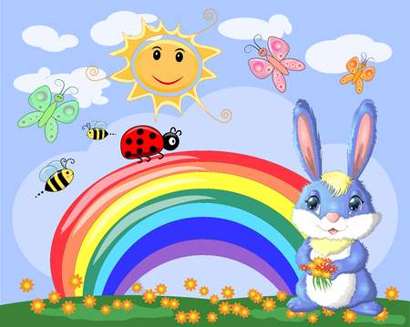 Bunny with a bouquet in a meadow near the rainbow. Spring, love, postcard 矢量图像