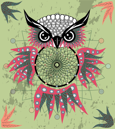 Indian decorative Dream Catcher owl in graphic style. Stock fotó - 126657744