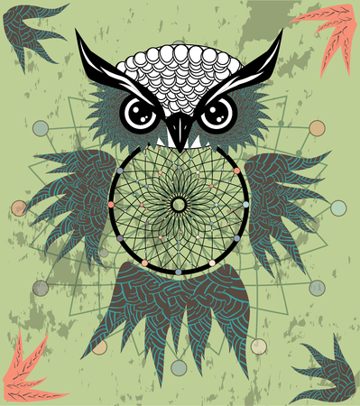 Hand drawn dreamcatcher with an owl, feathers and all seeing eyes. Indian talisman in boho style.