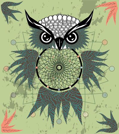 Handgezeichneter Traumfänger mit Eule, Federn und allen sehenden Augen. Indischer Talisman im Boho-Stil.