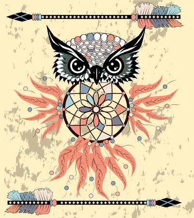 Hand drawn dreamcatcher with an owl, feathers and all seeing eyes. Indian talisman in boho style. Archivio Fotografico - 126657813