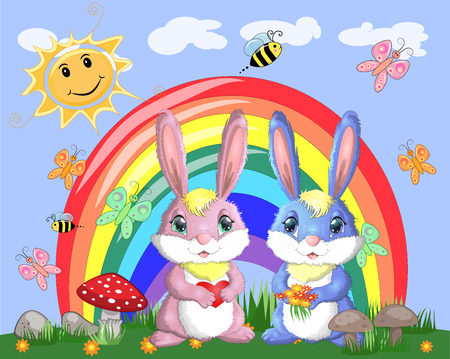A pair of bunnies, a boy and a girl in a clearing near the rainbow. Spring, love, postcard Ilustração