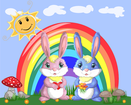 A pair of bunnies, a boy and a girl in a clearing near the rainbow. Spring, love, postcard Illustration
