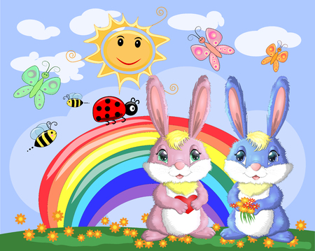 A pair of bunnies, a boy and a girl in a clearing near the rainbow. Spring, love, postcard  イラスト・ベクター素材
