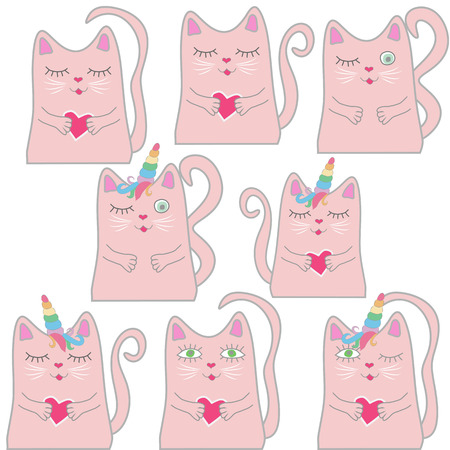 Big set funny pink cat unicorn. Concept of miracles and magic.