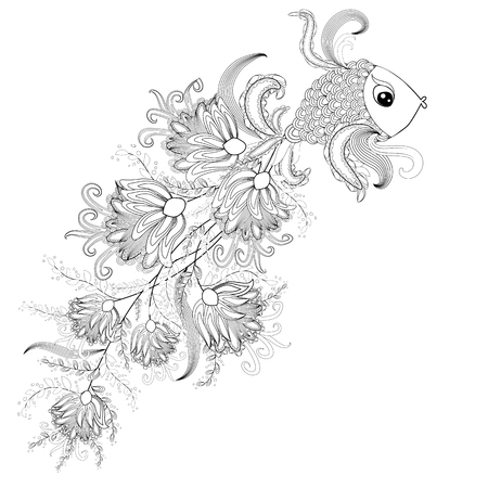ornamental graphic fish, floral line pattern. Coloring book page for adult. Bohemia concept for restaurant menu card, branding, logo label. Black and white.