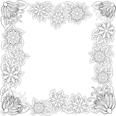 illustration zentangl. Flower frame for photo. Coloring book. Antistress for adults and children. Black and white