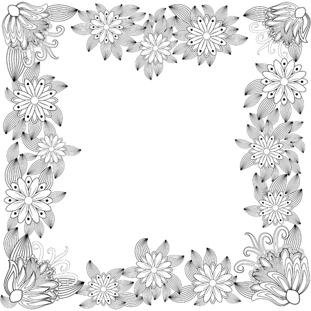 illustration zentangl. Flower frame for photo. Coloring book. Antistress for adults and children. Black and white Illusztráció