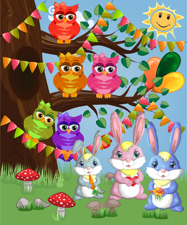 A family of three bunnies in a forest glade. Mom, dad, baby. Spring, love, postcard