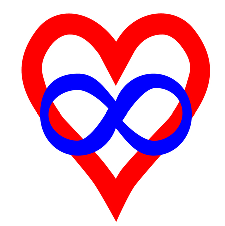 Symbol of polyamory: heart and infinity sign. Polyamory conceptual illustration.