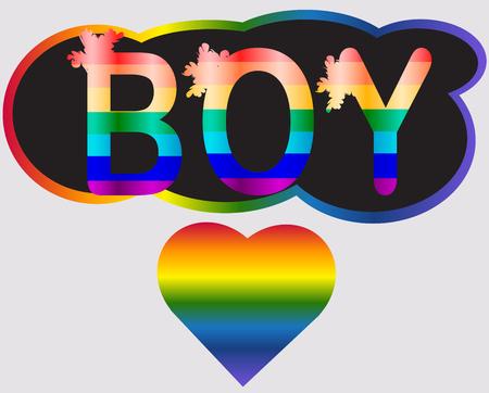 Boy - inscription in rainbow letters, lgtb concept