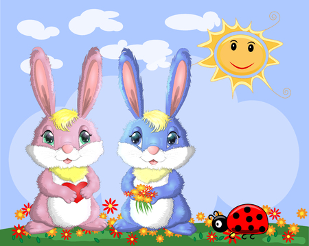 A pair of bunnies, a boy and a girl in a clearing near the rainbow. Spring, love, postcard Иллюстрация