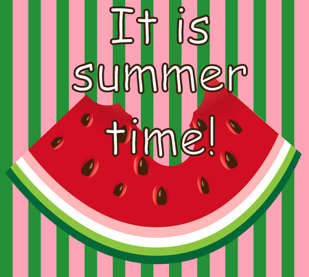 Inscription It is summer time. Watermelon slice background with seed and skin texture  イラスト・ベクター素材