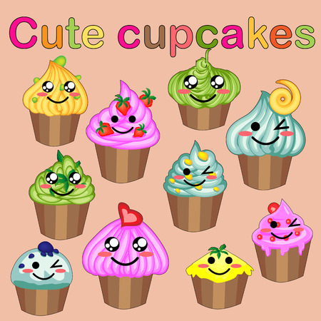 Set of cute sweet icons in kawaii style with smiling face and pink cheeks for sweet design. Ice cream, candy, cake, cupcake