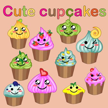 Set süßer süßer Symbole im Kawaii-Stil mit lächelndem Gesicht und rosa Wangen für süßes Design. Eis, Süßigkeiten, Kuchen, Cupcake