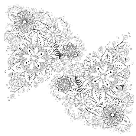 Black and white ornamental fantastic flowers, magic composition. Monochrome Pattern: Floral Texture, Adult Coloring Book page. Vektoros illusztráció
