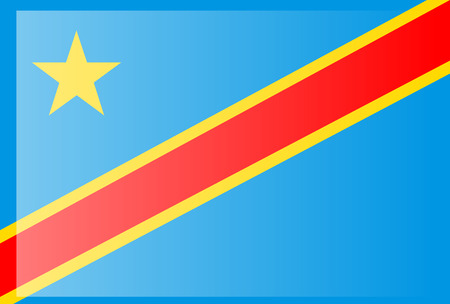 Democratic Republic of the Congo flag. National current flag, government and geography emblem. Flat style