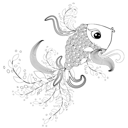 ornamental graphic fish, floral line pattern.  Coloring book page for adult. Bohemia concept for restaurant menu card, branding, logo label. Black and white