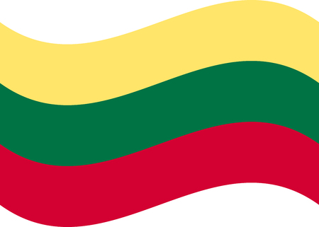 Lithuania flag, official colors and proportion correctly. National Lithuania flag. Flat Çizim