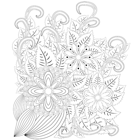 illustration  . Flower frame. Coloring book. Antistress for adults and children. The work was done in manual mode. Black and white