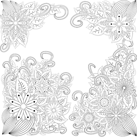 Flower frame. Coloring book. Antistress for adults and children. The work was done in manual mode. Black and white Фото со стока