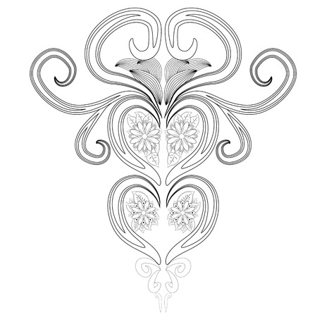 Doodle floral pattern in black and white. Page for coloring book: very interesting and relaxing job for children and adults.