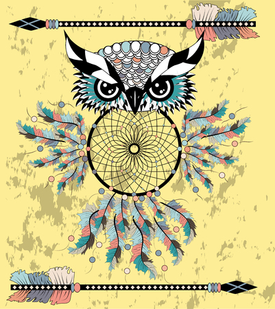 Dreamcatcher with owl. Abstract bird. Mystic symbol. American Indians symbol. for spiritual relaxation for adults. Decorative