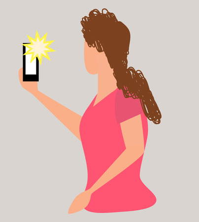 Girl taking selfie, pixel art.Woman recording video taking photo on phone camera texting making video call reading mail watching phone screen. Smartphone chat app. Messenger sticker. Live stream vlog. Ilustração