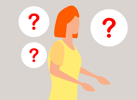 concept illustration of people frequently asked questions, waiting to be answered, around the exclamation mark, answer to the metaphor of the question Иллюстрация