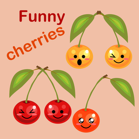 Fresh juicy ripe cherry cartoon character. Funny cute berry cherry. Background of the halves of cherry berries