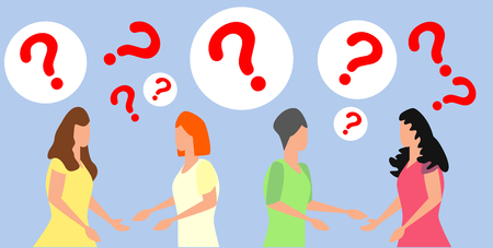 concept illustration of people frequently asked questions, waiting to be answered, around the exclamation mark, answer to the metaphor of the question  イラスト・ベクター素材
