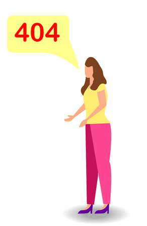 Unhappy woman, mistake, remember error. Forgot, bad memory. Human emotion and body language concept illustration in flat style Çizim