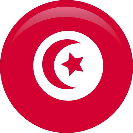 Flag of Tunisia with name icon. Official colors and proportion correctly. National Tunisia Flag