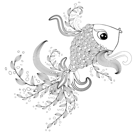 ornamental graphic fish, floral line pattern.  Coloring book page for adult.