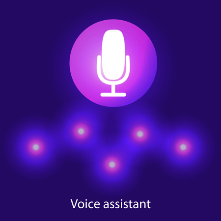 Personal assistant and voice recognition concept flat illustration of sound symbol intelligent technologies. Microphone button with bright voice and sound imitation lines
