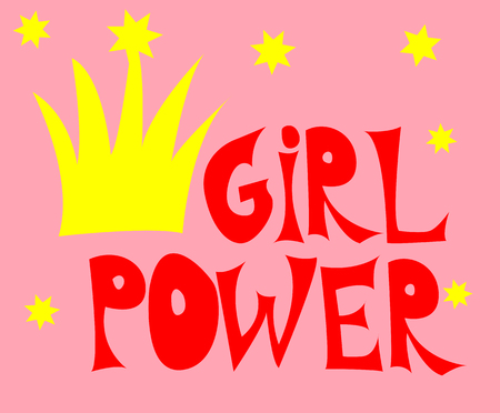 Girl power inscription handwritten with bright pink vivid font. GRL PWR hand lettering. Feminist slogan, phrase or quote. Modern print.