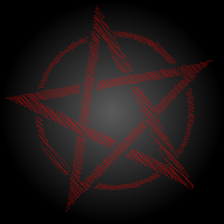 Pentagram blood red runic spell circle. Satanic sign, Magic casting ring. Pentalpha, Pentangle, illustration Illusztráció