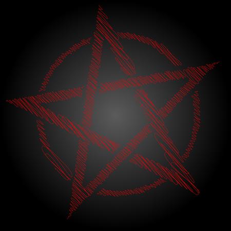 Pentagram blood red runic spell circle. Satanic sign, Magic casting ring. Pentalpha, Pentangle, illustration Illustration