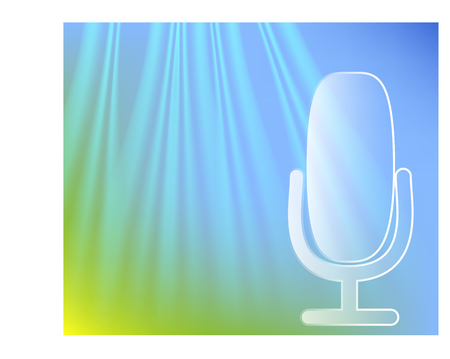 microphone on stage. Professional stand up theatre curtain broadcast mic concept