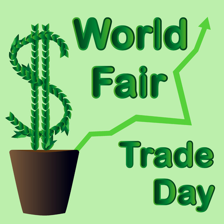World Fair Trade Day. The money tree grows in a flowerpot. May. illustration.