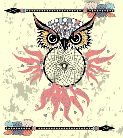Dream catcher with owl.  Abstract bird. Mystic symbol. American Indians symbol. for spiritual relaxation for adults. Decorative