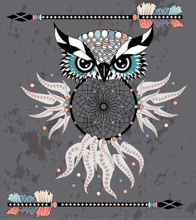 dream catcher with owl. boho style. totem animal.