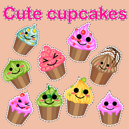 Set of cute sweet icons in kawaii style with smiling face and pink cheeks for sweet design. Ice cream, candy, cake, cupcake Banco de Imagens - 124991919