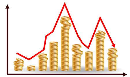Mucchi di monete decrescenti con grafico in discesa. Concetto per la caduta finanziaria Vettoriali